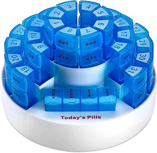Caja mensual para pastillas MEDca. Organización para medicamentos de múltiples dosis. Compartimientos extraíbles. Ideal para viajar.