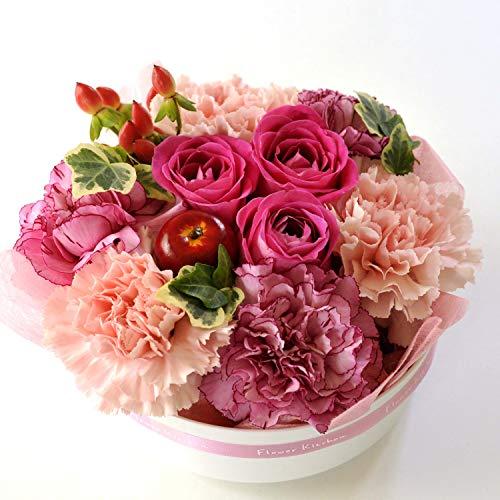 FlowerKitchenから贈る フラワーケーキ (ピンク系) 生花アレンジメント お祝い花ギフト