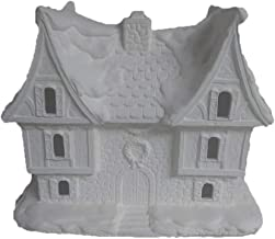 unpainted ceramic bisque houses