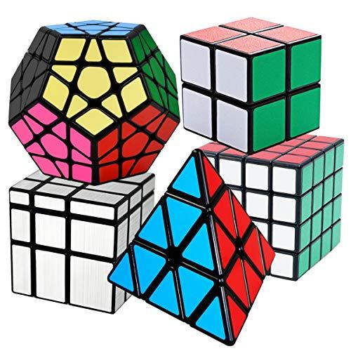 Cooja Cube Set, 5 Pezzi Cubi Magici 2x2x2 + 4x4x4 + Pyraminx + Megaminx + Specchio Magico, Cube Puzzle Speed Cubing Giocattolo Cubo