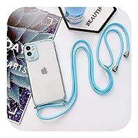 Euiwq 携帯電話ケース、ストラップネックストラップ付きiphone用ロープコード5 6 7 8 plus xs xr 11 11pro for iphone 2020SE-Sky blue-For iPhone 6PLUS