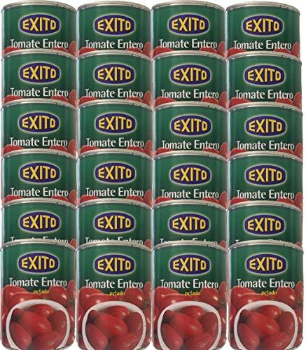 Bote de tomate de pera entero pelado marca Éxito 390 g.[PACK 24 UNIDADES]