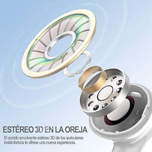 Auriculares Inalámbricos, Auriculares Bluetooth 5.0 con HD Micrófono, Caja de Carga Portátil con Carga de 24 Horas, IPX5 Impermeables Auriculares Deportivos Bluetooth para iPhone/Android miniatura