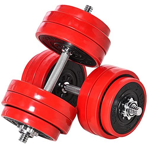bilanciere palestra 50 kg homcom Set 2 in 1 Bilanciere e Manubri Pesi da 30kg