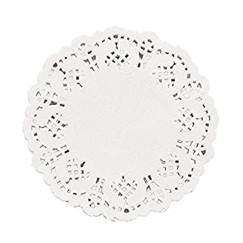 DECORA 3.5inch Round White Lace Paper Doilies for Wedding Tableware Decoration 100-Pack