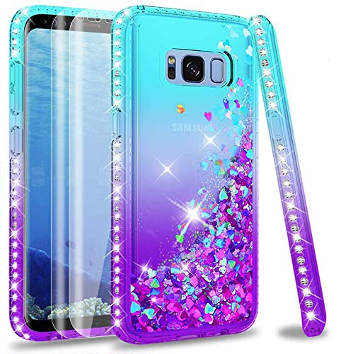 LeYi Case for Galaxy S8 with 3D PET Screen Protector [2 pack], Glitter Liquid Flowing Luxury Clear Transparent Diamond Personalise TPU Gel Silicone Shockproof Cover for Samsung S8 Turquoise Purple
