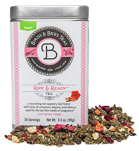 Birds & Bees Teas - Red Raspberry Leaf Tea, Ripe & Ready Organic Third Trimester Tea to Prepare Your Body for Labor and Birth - 30 Servings, 3.5 oz