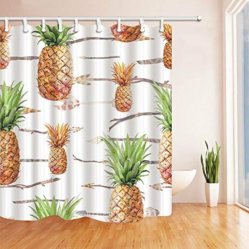 Farbige Blätter & Äpfel Duschvorhang Badezimmer Dekor Stoff und 12hooks