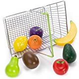 My Healthy Shopping Basket Produce Set - 8 Pcs of Wooden Food Toys with Metal Basket - Fake Pretend Fruit for Kitchen Sets - Learning & Educational for Boys, Girls, & Kids - Play Food Accessories