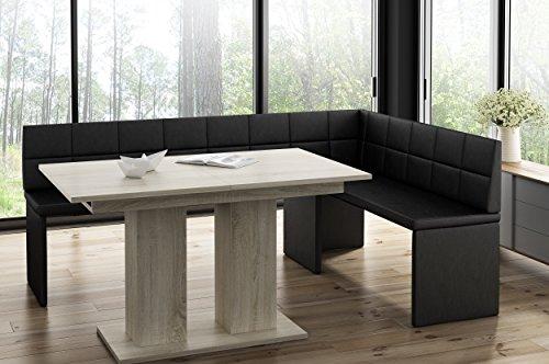 Hoekbank Marta zwart met zuiltafel eiken keukenbank zithoek dik bekleed kunstleer onderhoudsvriendelijk stabiel houten frame 196x142R