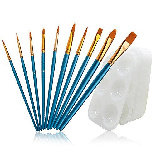 FineGood 12 Farbpaletten aus Kunststoff, 10 Kunststoff-Pinsel mit runder Spitze, Nylon-Haaren, mit 6 Vertiefungen, rechteckige Farbpaletten für Kinder, Schüler, Anfänger