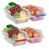 CYJZHEU Frigoríficos Organizadores de Cajones,Organizador Nevera, Cajón Frigorífico, Recipientes de frigorífico con Asas para Refrigerador Ordenado Estante (4 Pack)
