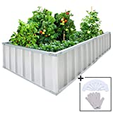 KING BIRD Extra-Thick 2-Ply Reinforced Card Frame Raised Garden Bed Galvanized Steel Metal Planter Kit Box Green 68'x 36'x 12' with 8pcs T-Types Tag & 2 Pairs of Gloves Grey, 17 Cu. Ft.
