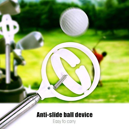 Recogedor de Pelota de Golf Pick Up,Golf Ball Retriever Portátil Retráctil Telescópico Práctico Golf Ball Pick Up Picker Acero inoxidable Tool Dispositivo Retriever Scoop Golf Ball Accesorios(blanco)