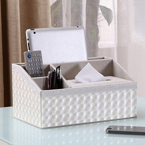 Afstandsbediening, houder, opslagkast, container, tissue box, PU-leer F