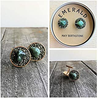 Emerald May Birthstone Cuff link, Raw Rough Stone, birthstone gift for boyfriend, gift for man, boss gift. anniversery gift