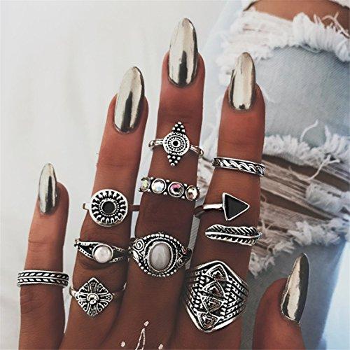 Idiytip Elegant Vintage Silver Women's Boho Crystal Flower Knuckle Ring Tibetan Turkish 10pcs