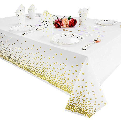 Tukcherry Manteles Desechables 137 × 274 cm, Cubierta Plástica de Mesa Rectángula para Bufé, Fiesta, Cena, Boda, Picnic y Más (Dorado)