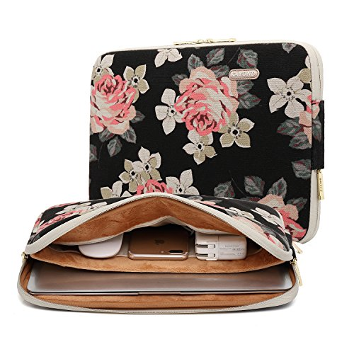 KAYOND Black Rose Patten canvas Water-resistant 15.6 Inch Laptop Sleeve