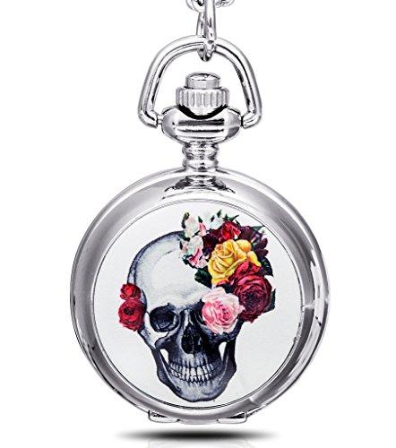 Infinite U Cráneo Calavera y Rosa Colgante con Espejo Pequeño Reloj de Bolsillo de Cuarzo para Mujer Collar Plateado