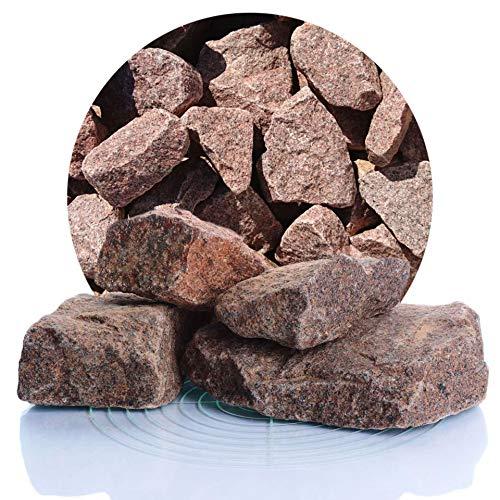 Schicker Mineral rote Granit Gabionensteine 25 kg, bordeauxrote Bruchsteine 60-180 mm, Steine für Ihre Gabionen