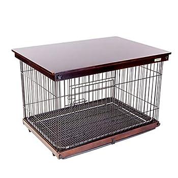 Chenils Cages Cage for Chien Niche for Chien Clôture for Chien en Extérieur Clôture for Chien en Fer Applicable Quatre Saisons avec Toilette Cages (Color : Brown, Size : 64 * 52 * 58CM)