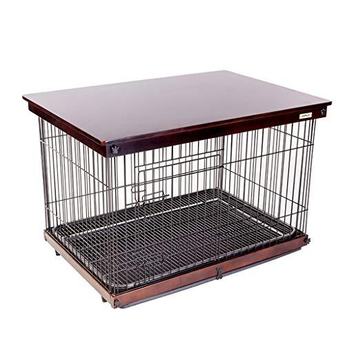 Cucce Gabbia for Cani Casa for Cani Recinzione for Cani All'aperto Recinzione for Cani in Ferro Quattro Stagioni Applicabili con Toilette (Color : Brown, Size : 64 * 52 * 58CM)
