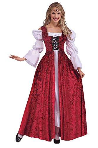 Bristol Novelty AC191 Robe à Lacets médiévale, Red, Size 10-14