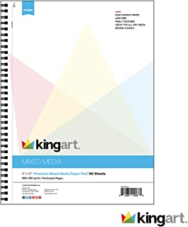 KINGART Mixed Media Paper Pad, Heavyweight, Fine Texture, Perforated, Side Wire Bound, 98 LBS. (160G), 9