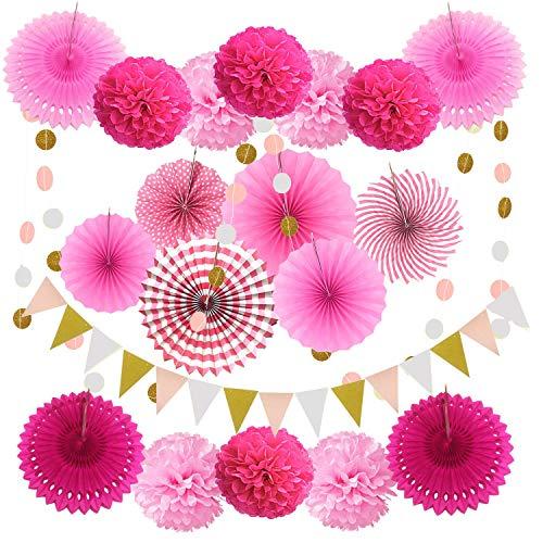 Xnuoyo 20 Stück Seidenpapier Blumen Pompoms Set, Seidenpapier Pompons Blume Fächer, Party Deko Geburtstag Papier Pompoms Fächer Wabenbälle Girlanden für Mexikanische Hochzeit Weihnachten(Rosa)