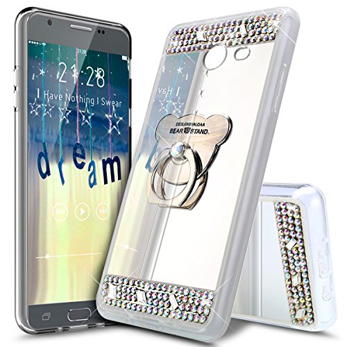 ikasus Coque Galaxy A5 2017 Silicone Etui [Support d'ours] Placage brillant Strass bling diamant Miroir Silicone Gel TPU Souple Housse Etui de Protection Case Coque pour Galaxy A5 2017,Argent