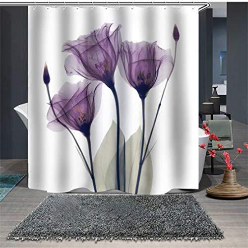 Kissherely Lila Blumen Druck Duschvorhang Undurchlässig für Wasser Mehltau Beständig Waschbar Bad Duschvorhang (180 * 200 cm)