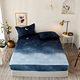 Feelyou Kids Galaxy Fitted Sheet Chic Starry Sky Bed Sheet Set Twin Size for Girls Boys Teens Bedroom Soft Moon Night Bedding Set Blue Watercolor Style Bed Cover with 1 Pillow Case