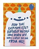 Funny Birthday Wishes Belated Birthday Card with Flocking