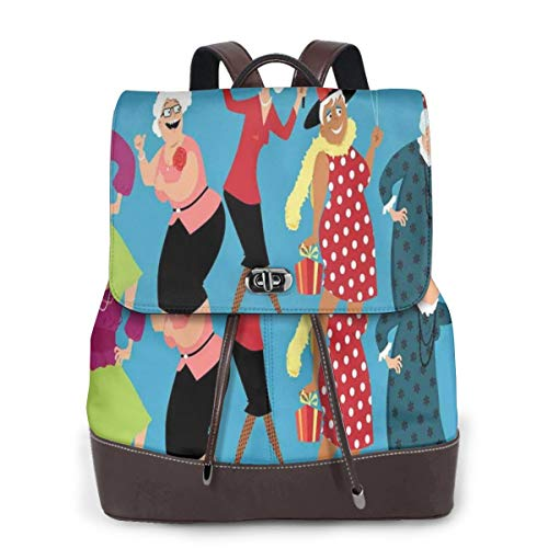 Women's Leather Backpack,Mature Ladies Group Dancing and Celebrating Holiday Together Graphic Image,School Travel Girls Ladies Rucksack