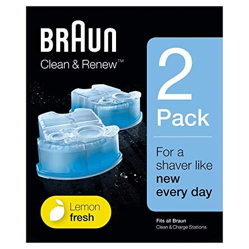 Braun Clean & Charge Cartucce di Ricarica per Rasoio da Barba Elettrico, Compatibili con tutte le Stazioni Braun SmartCare e Clean & Charge, 2 Confezioni