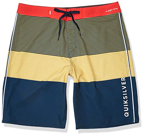 Quiksilver Men's Highline Massive 20 Inch Outseam Stretch Boardshort Swim Trunk, Misted Yellow, 36