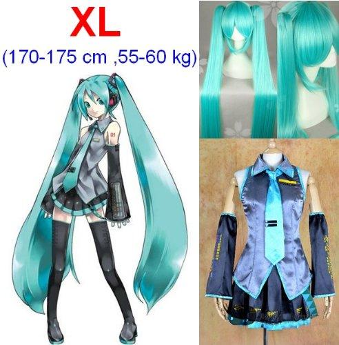 Vocaloid Miku Hatsune Cosplay Kostüme,Größe XL(170-175cm, 55-60 kg)+Vocaloid Miku Hatsune Perücke 120cm