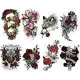 8 Tatouages Temporaires pour Femme ou Homme motif Fleurs Rose (Tattoo éphémère couleur de grande Taille) romantique, gothique, sexy rebelle et glamour