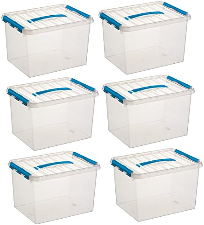 6x SUNWARE Q-Line Box - 22 Liter - 400 x 300 x 260mm - transparent blau