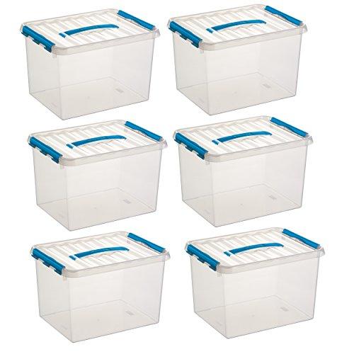 6x SUNWARE Q-Line Box - 22 Liter - 400 x 300 x 260mm - transparent/blau