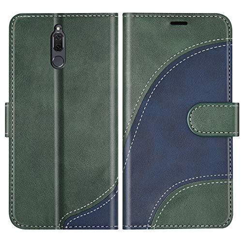 BoxTii Cover per Huawei Mate 10 Lite/Nova 2I, Custodia in PU Pelle Portafoglio per Huawei Mate 10 Lite/Nova 2I, Magnetica Cover a Libro con Slot per Schede, Verde