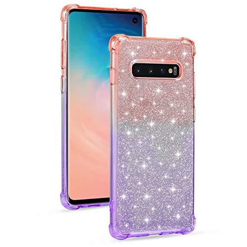 Miagon Weich Gradient Hülle für Samsung Galaxy S10 Plus,Schlank Stoßfest 2 im 1 Flexibel Handyhülle Stoßstange Schutzhülle Glitzer Cover Mädchen Frauen,Rosa Lila