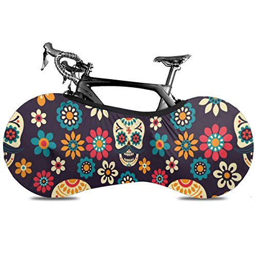 Red Sugar Skulls Flower Diamond Cubierta portátil para bicicleta interior anti polvo de alta elasticidad cubierta de rueda de bicicleta protectora Rip Stop neumático carretera mtb bolsa de almacenamiento, Happy Sugar Skulls Flores, talla única