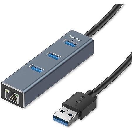 TechRise Hub Usb 3.0, Hub Usb 3.0 Alimentato dati in Alluminio a 3 Porte con Adattatore RJ45 Convertitore con Cavo Rete Converter Compatibile per Ultrab, Notebook, Tablet e altri Dispositivi USB