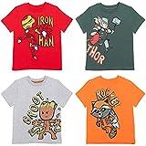Marvel Avengers Iron Man Rocket Raccoon Groot Thor Big Boys 4 Pack Graphic T-Shirt 10-12