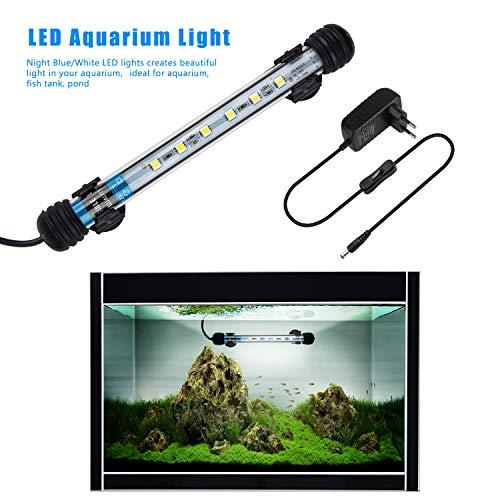 FTALGS LED Aquarium-Licht Unterwasser BeleuchtungAufsatzleuchte Abdeckung Wasserdicht Lampe Stecker EU für Fisch Tank mit (1.8x18cm, White)