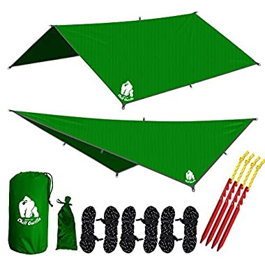Chill Gorilla 10' hammock rain fly tent tarp waterproof camping shelter. Lightweight ripstop nylon & not cheap polyester. Stakes included. Survival gear. Backpacking camping ENO accessory. Green