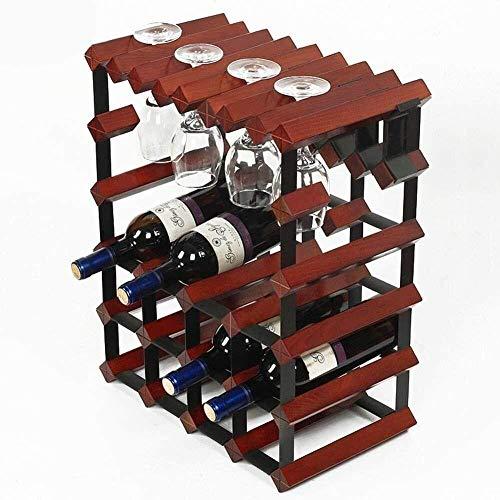 HJXSXHZ366 Estante de vino montado en la pared Estante de vino estante de vino botellero – 12 estantes independientes – bar/bodega/cocina, pequeño estante de vino blanco (Color: rojo vino)