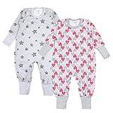TupTam Baby Mädchen Schlafstrampler Gemustert 2er Pack, Farbe: Farbenmix 3, Größe: 86/92